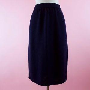 St. John Basics Knit Sweater Navy Blue Midi Skirt